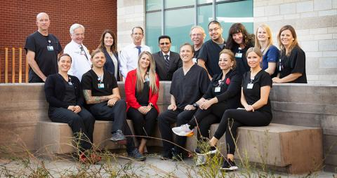 Pictured from left back row: Greg Bliss, William Roeske, MD, Elizabeth Juneman, MD, Paul Fenster, MD, Raj Janardhanan, MD, Jeff Gregoire, Phillip Barrios, Carrey Stivers, Sarah Ditri, Amy Shepherd. Front row: Manya Denman, Shane Scully, Kellie Ohanian, Todd Rutter, Magda Gutierrez, Caitlin Stumpf.
