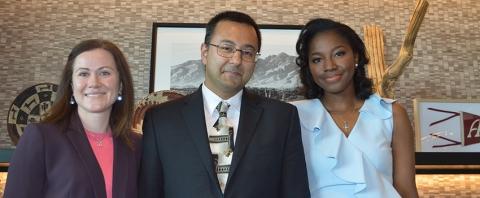 Interventional Fellow Cardiology graduates Kristina Skinner (left) and Chioma Nwagbara (right) with Fellowship Director Deepak Acharya