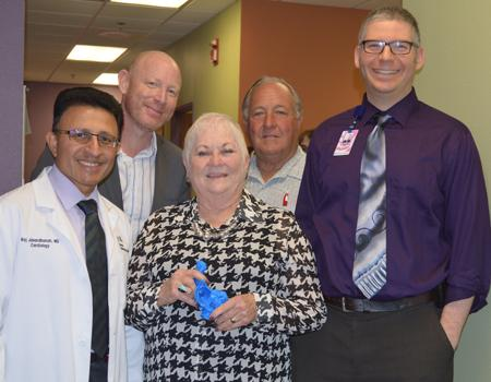 Congenital Heart Patient Patricia Fickett surrounded by her miracle workers: Dr. Raj Janardhanan, Dr. Franz Rischard, her husband Chuck Fickett, and Dr. Michael Seckeler